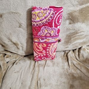 Vera Bradley Raspberry Fizz Brush Roll Cosmetic